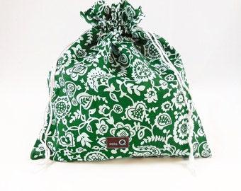 Della Q Small Eden Pouch, Green Stash Bag, Della Q Eden Limited Edition Green Print Bag, Della Q Eden Gift Bag, Della Q Eden Project Bag