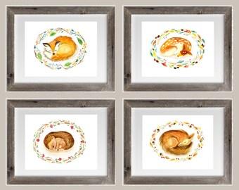 Set of 4 Nursery Woodland Animals Watercolour Prints, home decor, baby girl, baby boy, fox, deer, hedgehog, fawn, squirrel woodland, forest