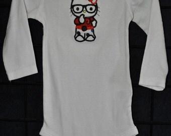 """Embroidered Applique """"Kitty Nerd"""" Onesie - Size 6-12M"""