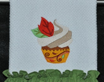 "Embroidered Dish Towel ""Give Thanks Cupcake Leaves"""