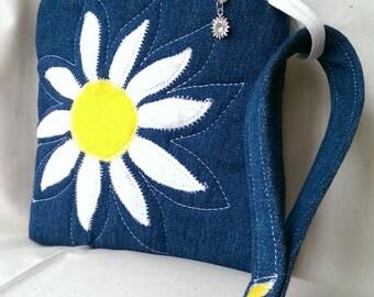 Embroidered Denim Wristlet, Flowered Applique Handbag, Daisy, Upcycled Blue Denim, Free Motion Embroidered