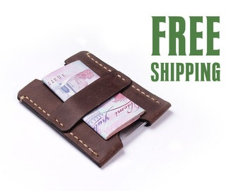 Brown leather cardholder | wallet | leather card holder | mini wallet | card case | Credit Card Holder