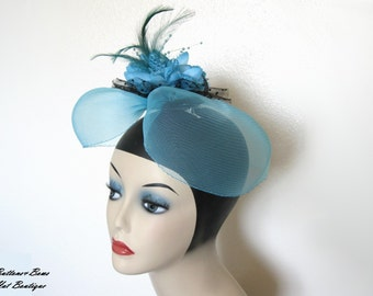 Sale! ~Vintage Floral Hat/ Head Piece ~ Tuorqouise