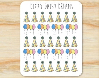 Party Hat and Balloons Stickers