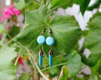 Earrings turquoise and Howlite