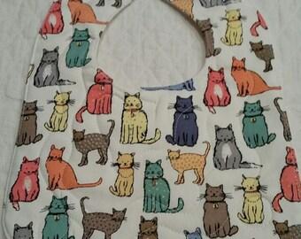 Baby Bib, Quilted Bib, Cat Fabric Bib