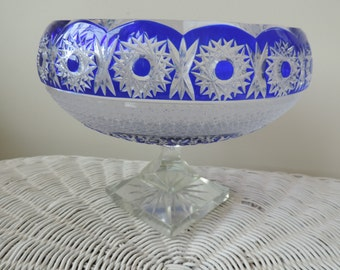 Blue Cobalt and Crystal Serving Bowl Vintage Germany