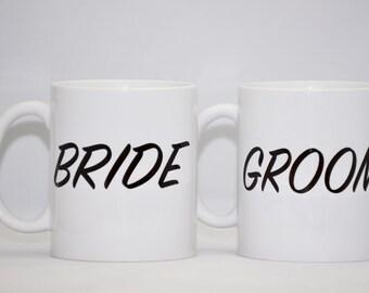 Bride and Groom 11Oz Porcelain Mug Set.