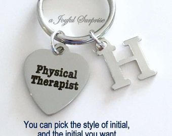 Physical Therapist Keychain, PT Key Chain, Gift for Physical Therapy Student, PT Keyring PT Grad Keyring with Initial letter custom monogram