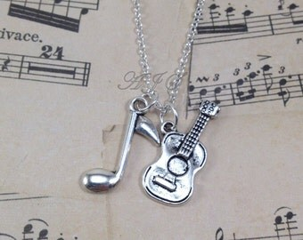 Guitarists Necklace, Silver Guitar Jewelry, Music Note Charm Gift for Musicians Rock Band Men's Man Band Teacher Birthday Present Teen Boy