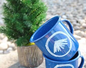 SALE 12oz Enamel Mountain Camping Mug