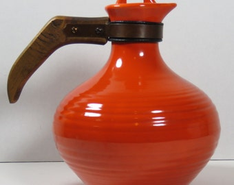 Bauer Los Angeles California Pottery Orange Ringware Carafe w/Lid 1930's Reduced!