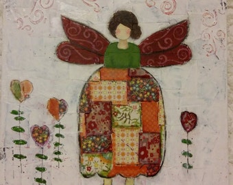 Mixed Media Girl with Wings in Fall Colors