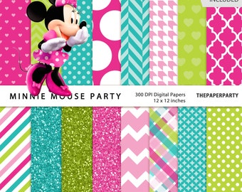Minnie Mouse digital papers 12 x 12 inches high quality 300 DPI pink green and blue