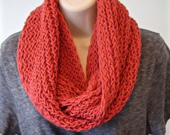 Coral Me Pretty Infinity Scarf, Women's Scarf, Circle Scarf, Knit Scarf, Handmade