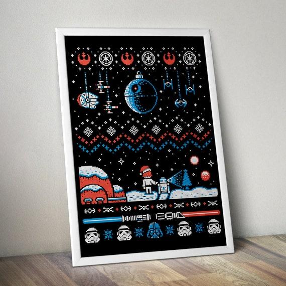 Star Wars Christmas Funy ornament Han Solo R2-D2 Death Star Millennium Falcon - Cross-stitch PDF pattern - Instant digital download