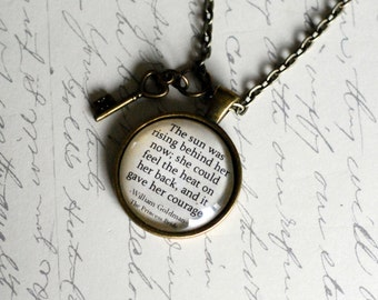 """The Princess bride quote pendant, """"The sun was rising behind her now....."""" William Goldman quote jewelry necklace"""