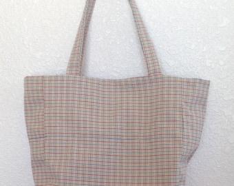 Plaid tote bag, upcycled tote bag, ladies plaid tote bag, child's plaid tote bag, practical gift, gift for her, upcycled plaid tote bag
