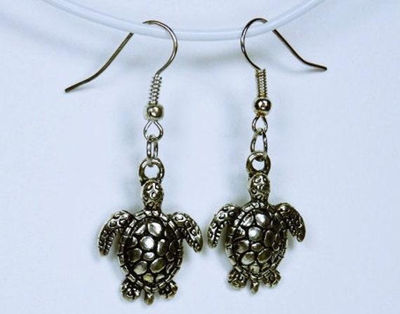 Earrings sea turtles-turtles on silver-colored pierced earrings-water turtles