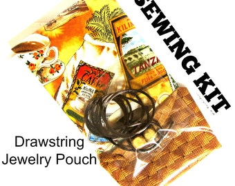 Jewelry Pouch Tutorial / Sewing Tutorial / Diy craft / Beginner Sewing Kit / DIY Kit / DIY Gift / Jewelry Pouch Kit / Jewelry Travel Bag Kit
