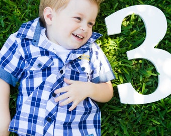 3 Sign Photo Prop for Third Birthday Photo Shoot for Kids - Wooden Number 3 Sign Photographer, Number Three Sign (Item - NUM003)