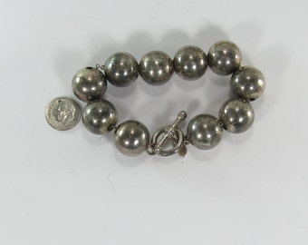 Vintage Sterling Silver Designer Bost Ball and Chain Bracelet