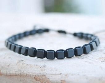 Mens Bracelet, Gemstone bracelet, Square Hematite bracelet, Gift for Men, Men Gifts, Gift For Him, men braided Bracelet, men woven bracelet