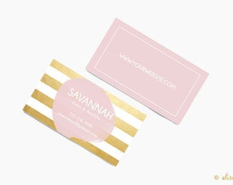 Custom Business Card Design- Printable Business Card- Gold Foil and White Stripe with Pink Paint Dot