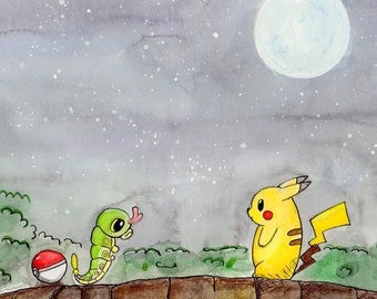 Pikachu and Caterpie