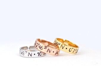 Coordinates ring, latitudine longitudine ring, personalized coordinate ring, custom coordinates ring, engraved ring, personalized ring