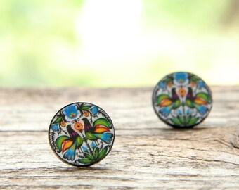 Folk decoupage earrings, folk earrings, decoupage earrings,polish folk art, folk cutout earrings, stud earrings, polish folk sutd,