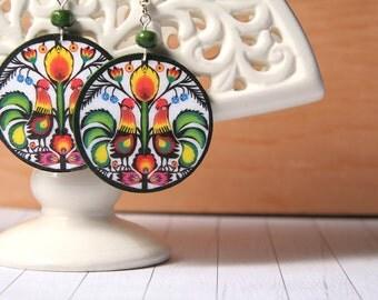 Folk decoupage earrings, folk earrings, decoupage earrings, cut-out earrings, folk cutout earrings. Polish folk art, Poland earrings