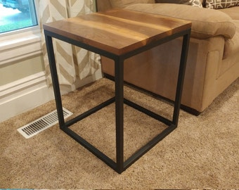 Handcrafted Steel and Wood End Table