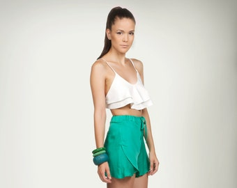 High Waisted Shorts, Womens Shorts, Silk Shorts, Plus Size Shorts, Short Pants, Casual Shorts, Shorts Pom, Loose Shorts, Green Shorts