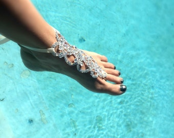 Bridal Foot Jewelry, Rhinestone Barefoot Sandals, Silver Foot Jewelry, Beach Wedding Barefoot Sandals