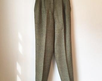 Vintage Tweed Pleated Trousers || High-Waisted Pants