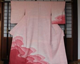Silk Kimono, Vintage Japanese Silk Kimono, Pink Silk Kimono, Kimono with Mon Family Crest, Vintage Silk Kimono Robe, Free Shipping