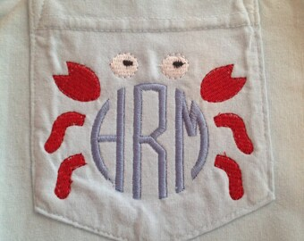 Embroidered Crab and Initials on a Comfort Colors long sleeved/short sleeved pocket t-shirt/ pocket tee