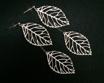Large Leaf Dangle Earrings, Sterling Silver Ear Studs & Rhodium plated Leaf Charms, Rhodium plated chains