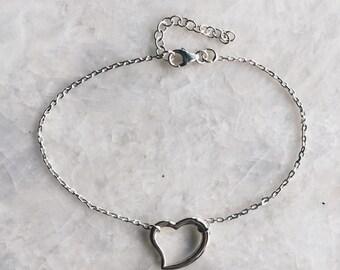 Sterling silver heart silver bracelet, Silver heart charm bracelet, Tiny heart bracelet, Dainty tiny heart bracelet (B14)