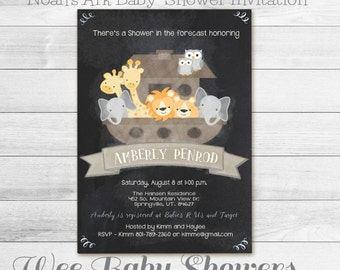 Noah's Ark Baby Shower, Chalkboard Baby Shower Invitation