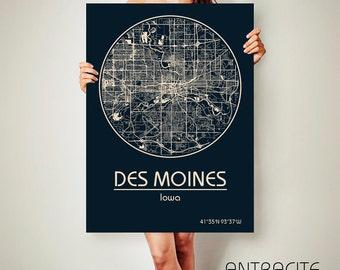 DES MOINES Iowa CANVAS Map Des Moines Iowa Poster City Map Des Moines Iowa Art Print Des Moines Iowa