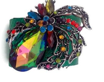 Small Rhinestone Bracelet Leather Cuff, Rainbow Brooch, Adjustable Size, Pear Shaped Glass, Cascading Rhinestone Leaves