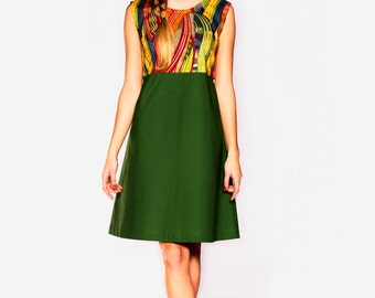 african pattern cotton dress '60 style