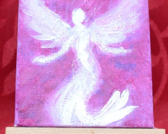 MINI CANVAS art-Small painting- Love angel-Mini canvas easel-9x7 cm-Desktop art-spiritual art-reiki mini art- small angel gift- gift for her