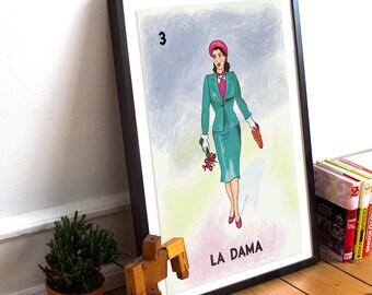 Loteria La Dama Mexican Retro Poster Illustration Art Print Vintage Bingo Giclee on Cotton Canvas or Paper Canvas Wall Decor