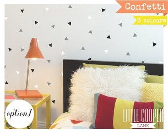 Confetti Triangles | 3 Colours | 2.5x3cm Modern Wall Decal Vinyl Sticker for Boys & Girls Set of 180_For Nursery, Kids OR Teens Room_ID#1376