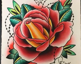 Watercolor Rose Original Tattoo Art