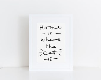 Home Is Where The Cat Is Print Gift For Cat Lover Cat Owner Wall Art Cat Print Cat Gift Home Decor Gift For Pet Owner