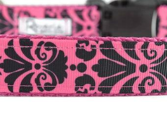Pink Damask Dog Collar, pink dog collar, girl dog collar, dog collar for girls, pretty dog collar, designer dog collar